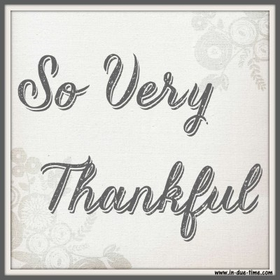 So Very Thankful - In Due Time Blog
