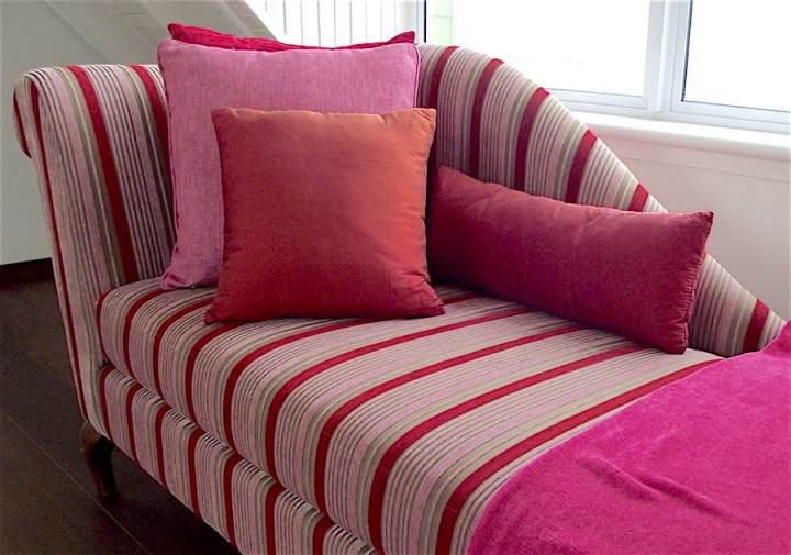 Pink and red fainting sofa