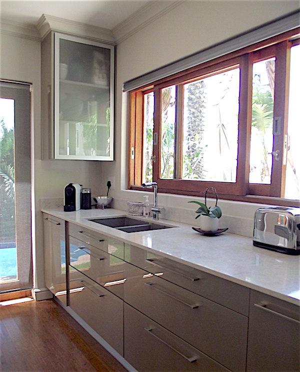 Kitchen remodel with large sliding window
