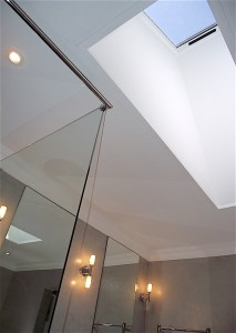 Skylight in bathroom remodel