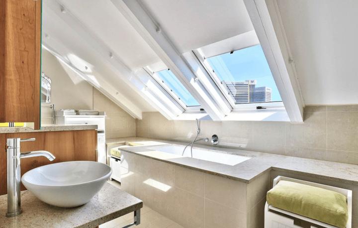 Contemporary attic bathroom