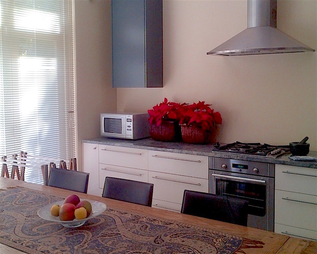 Kitchen remodel with long table and stacking doors