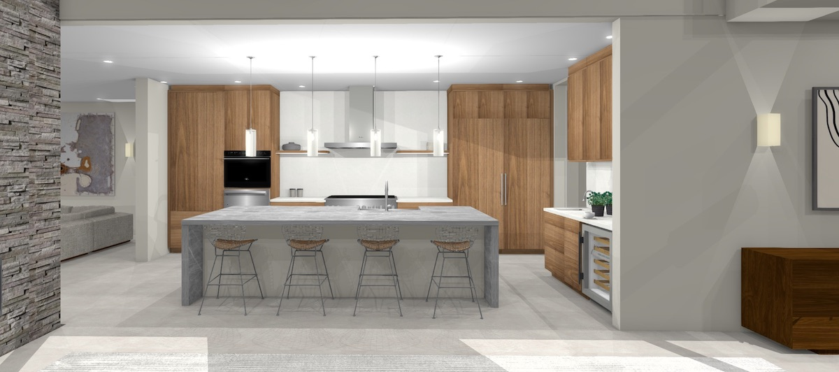 large contemporary kitchen design with walnut cabinets