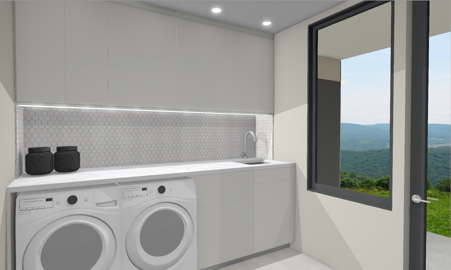 laundry with white cabinets hexagon backsplash tile