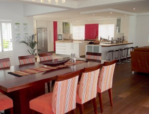 Open plan kitchen with dining and living area