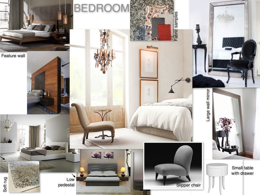 Mood board for main bedroom chandelier and leaning mirro