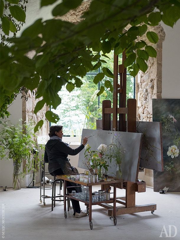 Art studio filled with plants
