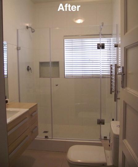 Bathroom with glass door after