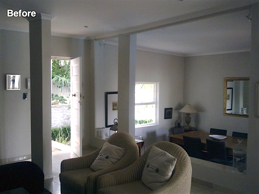 living room with sunken dining area
