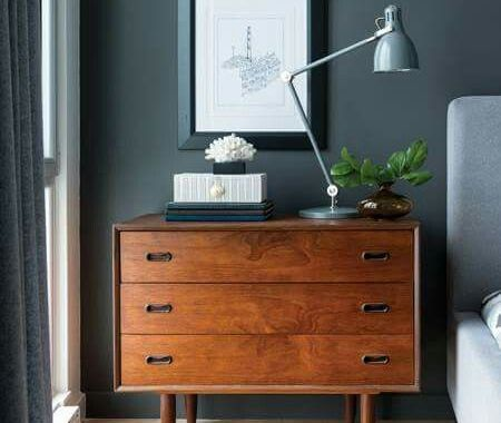 paint makeover bedroom with dark grey wall