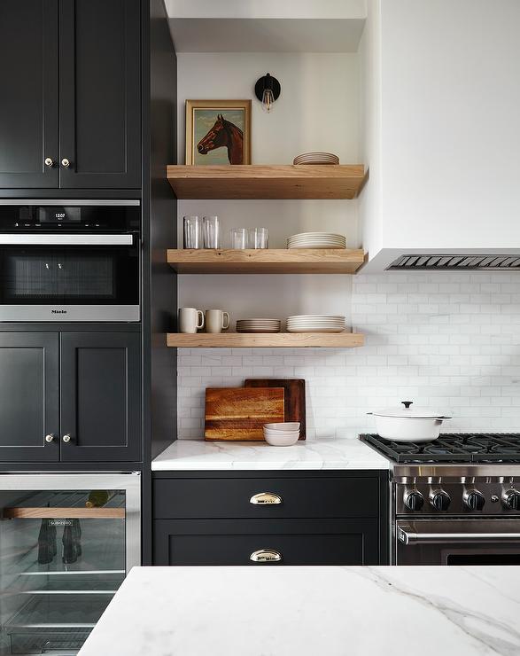 Kitchen upgrade open timber shelves black base cupboards white backsplash