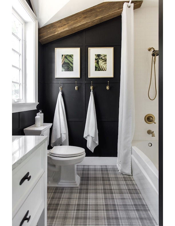 brass metal finishes in bathroom black and white