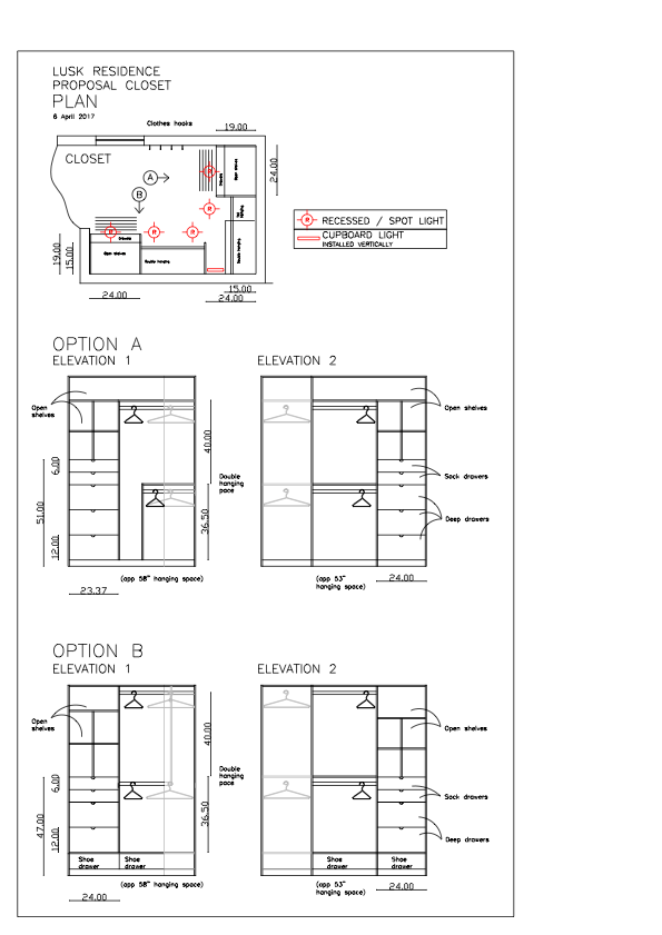Closet remodel elevation drawings
