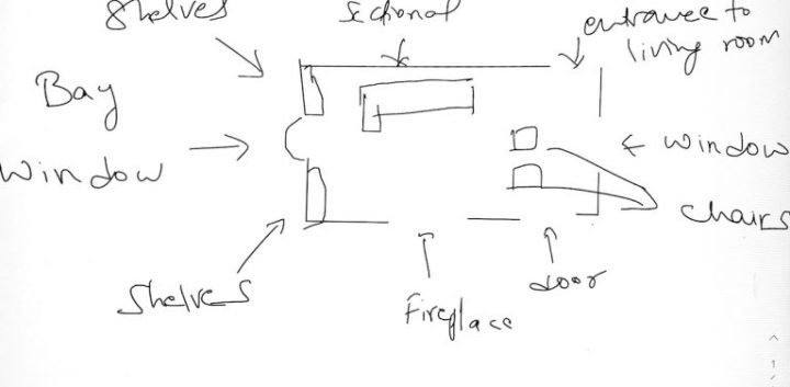 hand sketch of living area with fireplace and tV