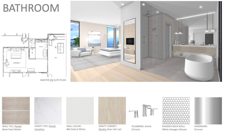 New design for modern master bath new built