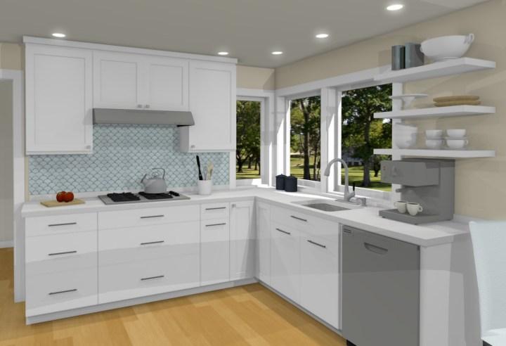 kitchen remodel white cabinets grey-blue backsplash tiles