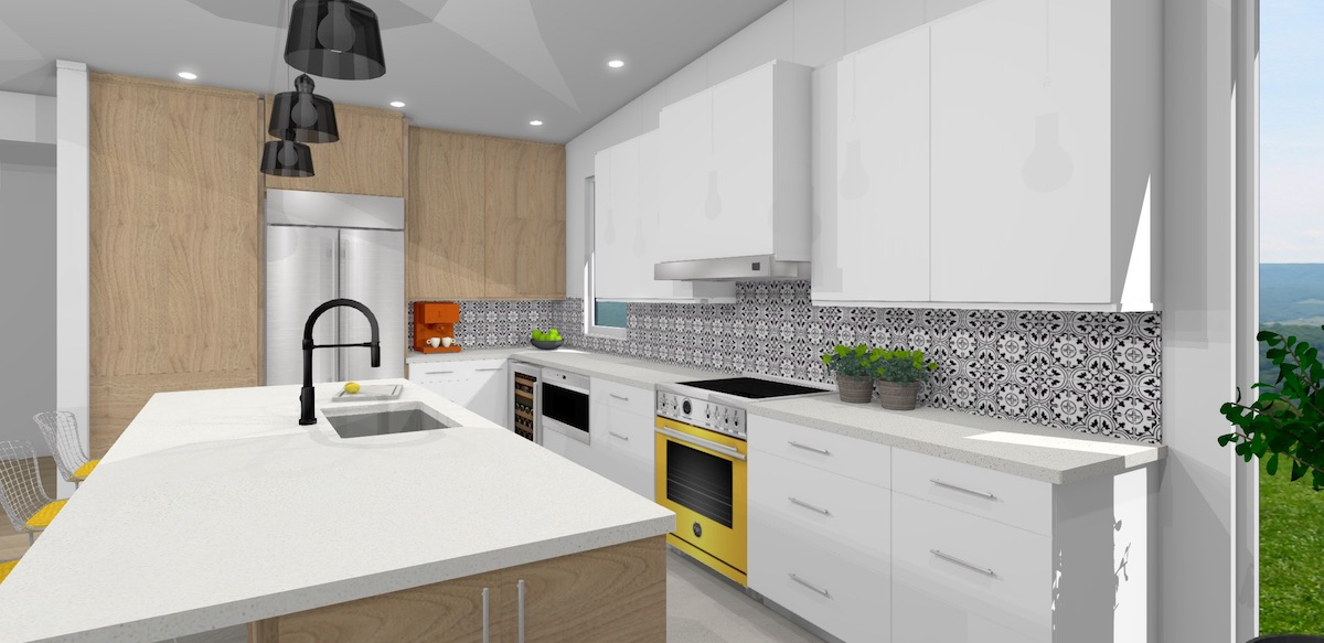 Contemporary kitchen with white cabinets and yellow range splashes of color