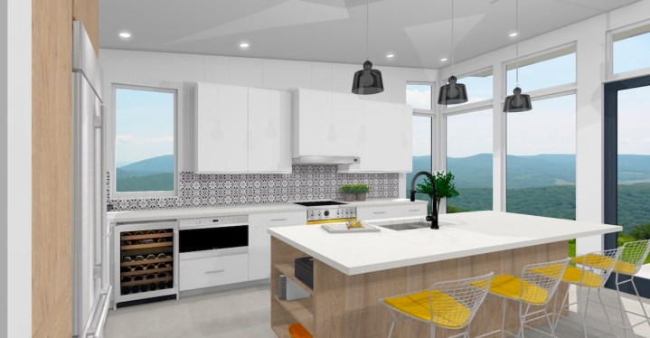 Contemporary kitchen with encaustic tile backsplash white oak and yellow accents