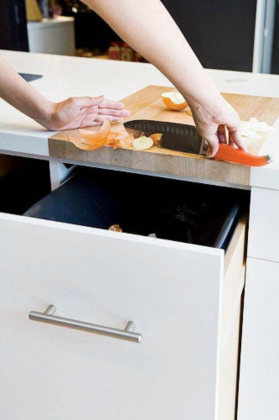 Compost drawer in kitchen island