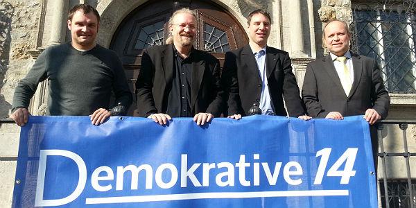 Die Führungsmannschaft der Demokrative14: Fabian Schütz, Klaus Graf, Hendrik Sonnenberg, Thomas Obermeier
