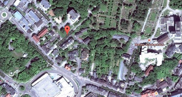 Areal rund um die Röntgenstraße. Quelle: Google