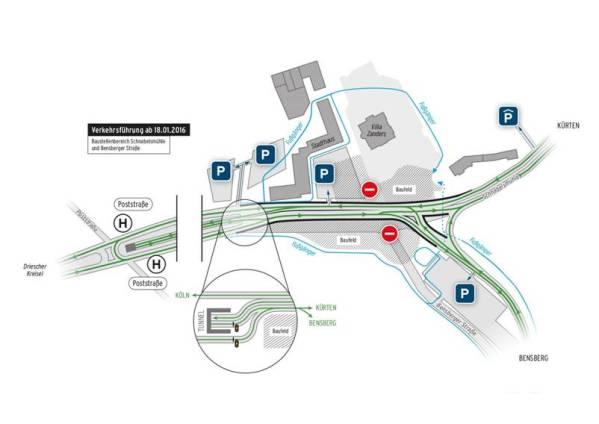 Die aktuelle Verkehrsführung an der Schnabelsmühle. Vor der Tunnelausfahrt wird es noch enger