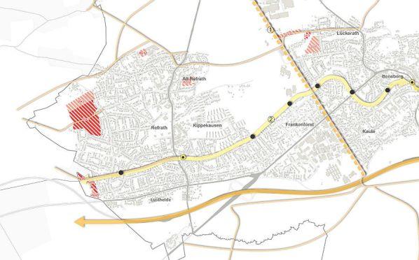 Potenzielle Wohnbaugebiete in Refrath. Dunkelrote Flächen werden von den Planern als geeignet eingestuft.