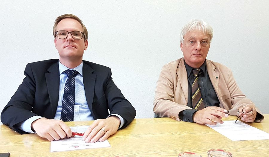 Michael Metten und Klaus Waldschmidt, Fraktionschefs von CDU und SPD im Rat der Stadt Bergisch Gladbach