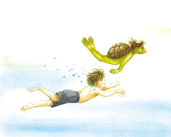 "A Boy Meets ""Kappa"" (a kind of Japanese monster living in water)"