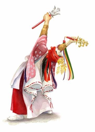 A Hiroshima Kagura Dancer (Ameno-Uzume)