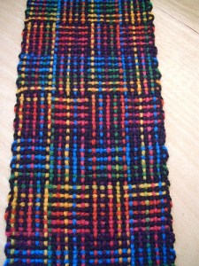 In Sheep's Clothing Yarn Shop woven log cabin scarf