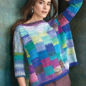 pullover sweater in multi colored squares