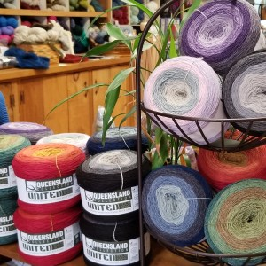 cakes of colorful yarn