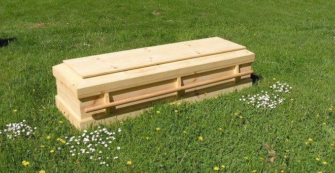 pine casket in the grass