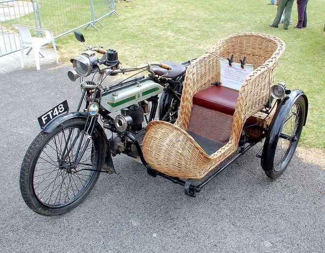 wicker rattan seat of motorcycle