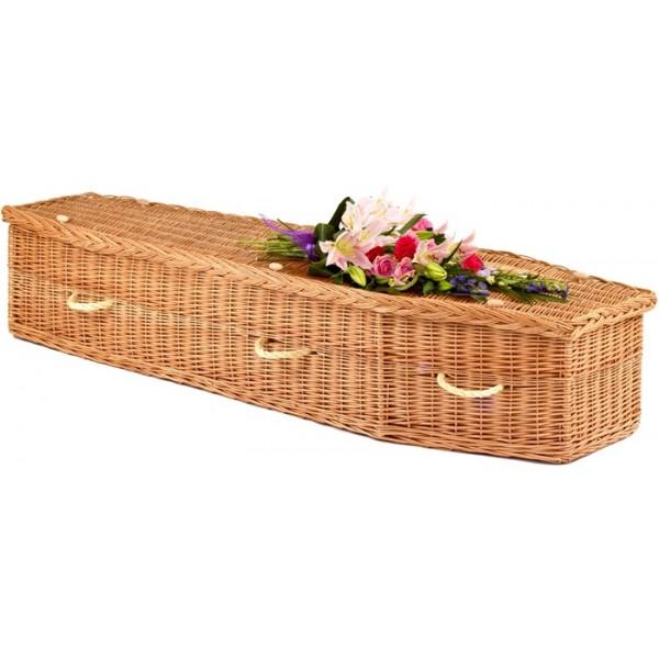 plain casket with spray