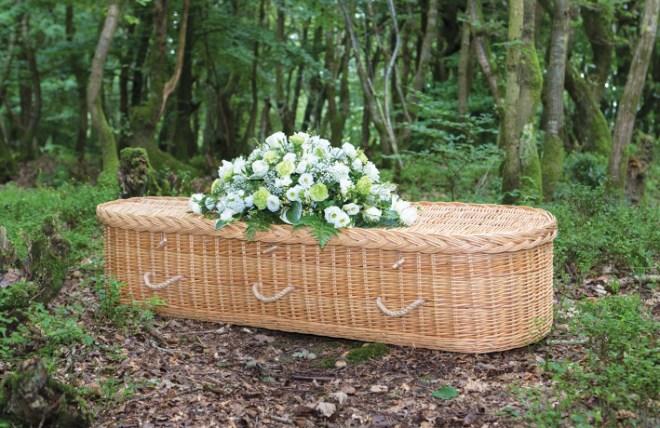 woven casket in forest