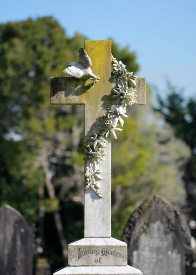 Cross with bird and leaves unique grave marker
