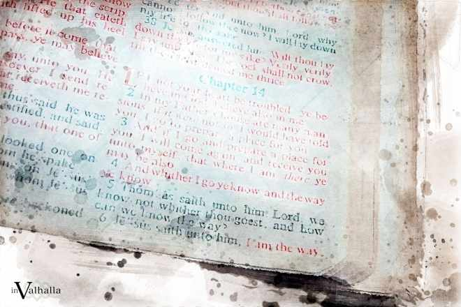 Religious book with red text