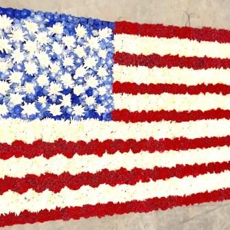 American Flag Funeral Flower Blanket