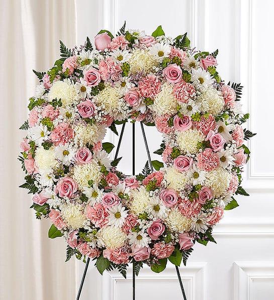 Serene Blessings™ Standing Wreath- Pink & White