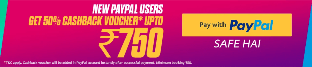 PayPal Rs 150 cashback offer Online Movie Ticket Offer - BookMyShow