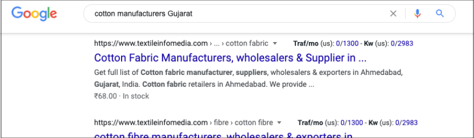 Google search results showing cotton manufacturers in Gujarat