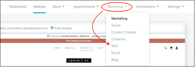Marketing tools shown in drop down