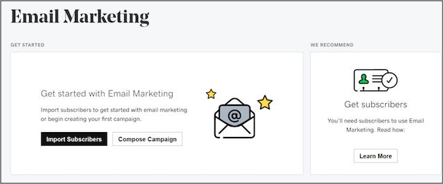 Screen showing websites plus marketing email tool