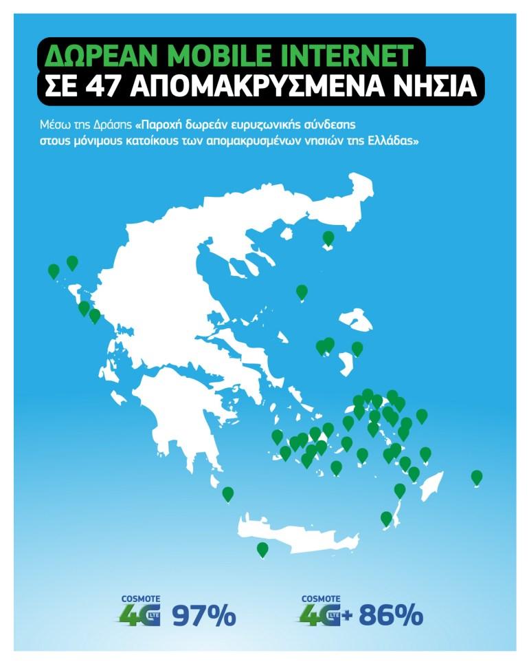 Η COSMOTE συμμετέχει στη Δράση για δωρεάν Mobile Internet σε 47 απομακρυσμένα νησιά