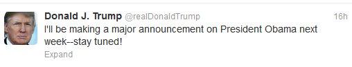 Donald Trump: Major Obama Announcement Next Week   in5d Alternative News   in5d.com  