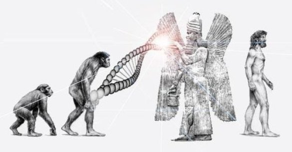 Could the missing link in human evolution be answered by the idea that extra-terrestrials genetically engineered the DNA from neanderthal man, combining it with their own DNA?