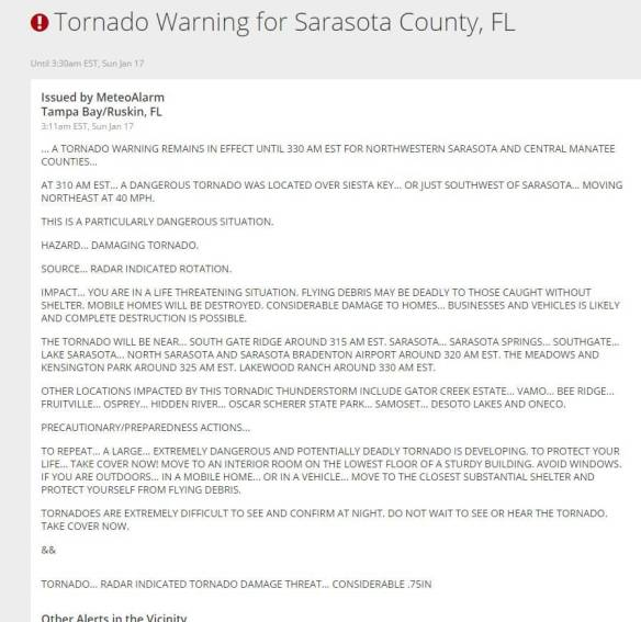 Tornado warning were issued as this energy signature hit Florida: