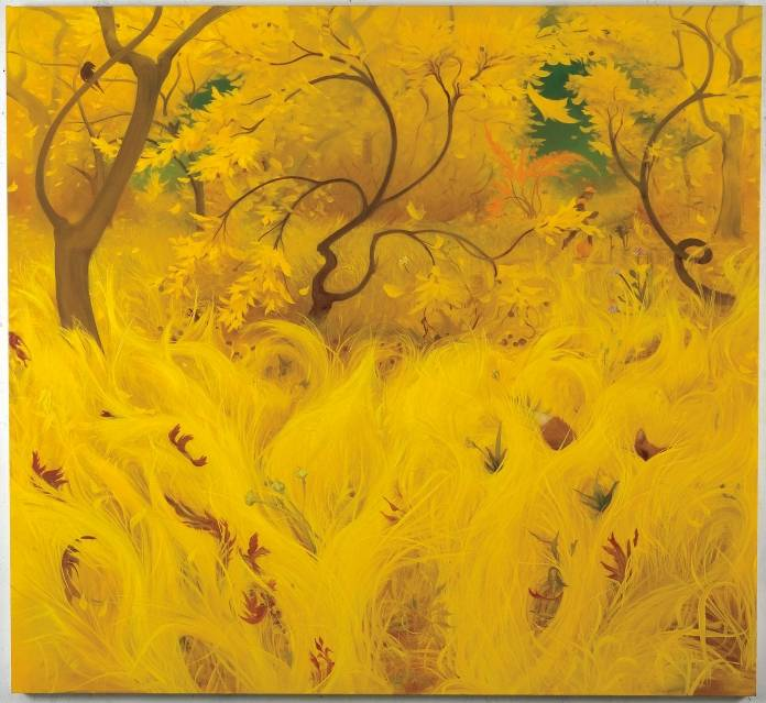 Inka-Essenhigh-Yellow-Fall​-2007.-Oil-on-canvas-68-x-74-inches-172.7-x-188cm.-©-Inka-Essenhigh.-Courtesy-of-the-artist